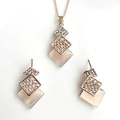 Set de Bijoux Imitation Opal Basique Alliage Formé Carrée 1 Collier 1 Paire de Boucles d'Oreille PourMariage Soirée Occasion spéciale