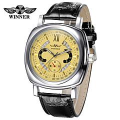 Women's Men's  Winner Fashionable Leisure Swiss Hollow Calendar Square Automatic Mechanical Watch