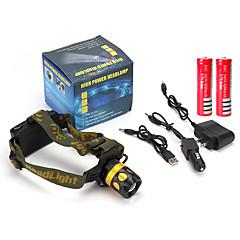Otsalamput LED 900 Lumenia 4.0 Tila Cree Q5 2 x 18650-paristot Ladattava akku Säädettävä fokus Iskunkestävä Naarmuuntumaton High Power