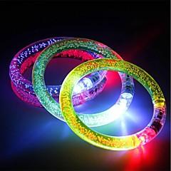 3PCS Multicolor LED Flashing Bracelet Light Up Acrylic Bangle for Party Bar Halloween Chiristmas Ramdon Color