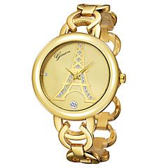 السيدات ساعة المعصم كوارتز مطلية بالذهب عيار 18 فرقة برج ايفل سوار ذهبي