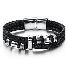 Men's Leather Bracelet Fashion Vintage Punk Hip-Hop Rock Stainless Steel Leather Casual Unqiue Cool Geometric Jewelry For Sport Outdoor Dailywear