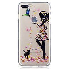 Voor apple iphone 7 7 plus 6s 6 plus 5s 5 schoonheid en kat patroon geschilderd hoge penetratie tpu materiaal imd proces zachte case