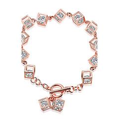 Női Lánc & láncszem karkötők Divat Ezüst Cirkonium Rózsa arany bevonattal Square Shape Ékszerek Mert Születésnap Karácsonyi ajándékok 1 db