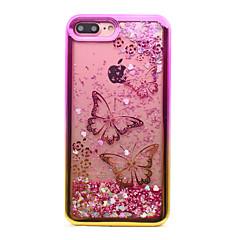 Til iPhone 8 iPhone 8 Plus Etuier Belægning Flydende væske Mønster Bagcover Etui Sommerfugl Glitterskin Blødt TPU for Apple iPhone 8 Plus