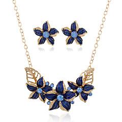 1Set Women's Earrings Set Statement Necklaces Statement Rings Dangling Style Pendant Euramerican Metal Alloy Resin Rhinestones Flower Geometric