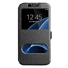 Voor Samsung Galaxy Note 5 Note 4 Case Cover met Windows Full Body Case Solid Color Hard Pu Leer voor Samsung Galaxy Note 3 Note Edge