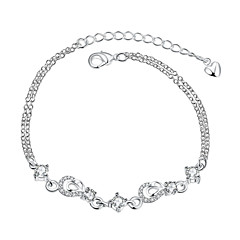 Exquisite Silver Plated Clear Crystal Sweet Flower Chain & Link Bracelets Jewellery for Women Accessiories
