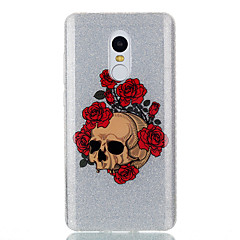 Etui til xiaomi redmi 4a note 4x dobbelt imd taske bag cover case rose skelet mønster soft tpu redmi 3s