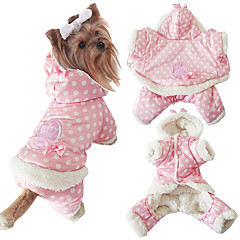 Cachorro Macacão Roupas para Cães Casual Mantenha Quente Pontos Bege Rosa claro