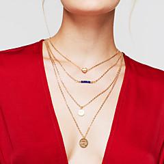 Dames gelaagde Kettingen Ronde vorm Hartvorm Verguld Legering Hart Meerlaags Modieus Goud Sieraden Voor Dagelijks 1 stuks