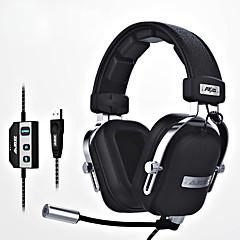 ajazz-ax300 Hoofdband Bekabeld Hoofdtelefoons Dynamisch Aluminum Alloy Stof Gaming koptelefoonmet microfoon Met volumeregeling