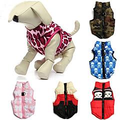 Katte Hunde Frakker Vest Rød Grøn Blå Pink Rose Hundetøj Vinter Forår/Vinter Dødningehoveder camouflage Afslappet/Hverdag Hold Varm
