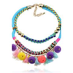 Damskie Oświadczenie Naszyjniki Biżuteria Circle Shape Flanela StopGeometryczny Bling Bling Bohemia Style Multi-sposoby Wear Wyrazista
