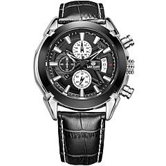 MEGIR Heren Sporthorloge Modieus horloge Polshorloge Unieke creatieve horloge Vrijetijdshorloge Horloge Hout Kwarts Kalender Echt leer