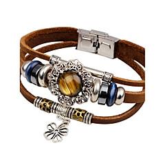 Herre Læder Armbånd Turkis Mode Vintage Læder Turkis Blomstformet Sol Smykker Til Afslappet I-byen-tøj
