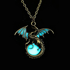 Ανδρικά Γυναικεία Κρεμαστά Κολιέ Circle Shape Δράκος Φτερά / Φτερό Μπρονζέ Φωσφορούχα Κράμα Άνιμαλ Πανκ Στυλ Με Φωτισμό κοστούμι