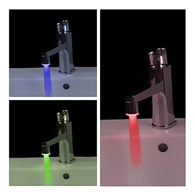 Stylish Water Powered Bathroom LED Faucet Light (Plastic, Chrome Finish)