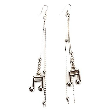 Music Note Shape Platinum Tassels Earrings