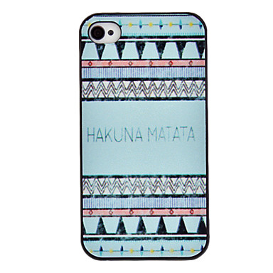 Blue Tones HAKUNA MATATA Coloured Drawing Pattern Black Frame PC Hard Case for iPhone 4/4S