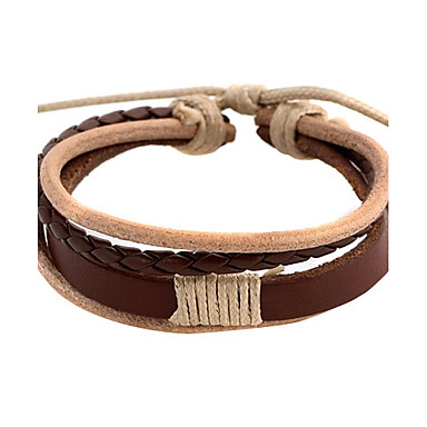 Punk 5.4cm Men's coffee Leather Leather Bracelet (1 Pc)