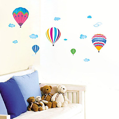 Colorful Fire Balloon and White Cloud Pattern Bedroom PVC DIY Wall Paper(1 PCS)