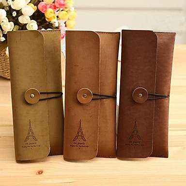 Eiffel Tower Pattern Cashmere Leather Card Holder Case(Random Color)