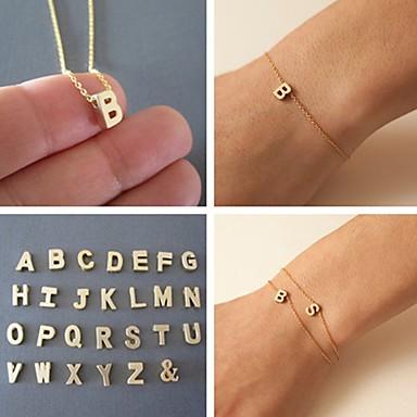 Bracelet Chain Bracelet Letter Classic Gold Bracelet 23cm Friendship Bracelet Alphabet Women Alloy Charm Bracelet 1 pcs Shixin®  Christmas Gifts