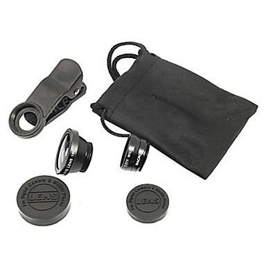 Universal 3in1 Clip Lens Wide Angle + Macro + Fisheye Lens (Black)