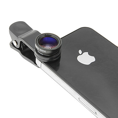 Cell Phone Clip and Fish Eye Wide Macro Silver Photo Lens in Set