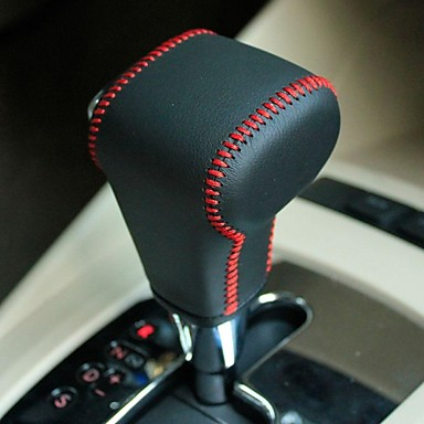XuJi ™ Black Genuine Leather Gear Shift Knob Cover for Volkswagen Golf 6 VW Polo Tiguan Jetta Passat Automatic