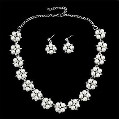 Четыре цветка лепестка Pearl бриллиантами Серьги колье (1 комплект)