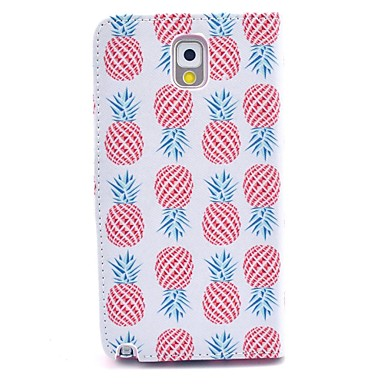 Pineapple Pattern PU Leather Case with Stand Card Holder for Samsung Galaxy Note 3 N9000