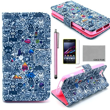 COCO FUN Cartoon Graffiti Pattern PU Leather Case with Film and Stylus for Sony Xperia Z1 mini Compact D5503
