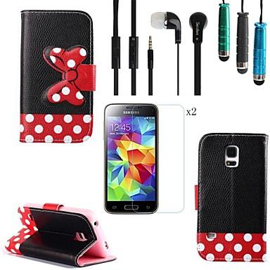Черный Полька Dot Лук Pattern PU кожаный с Стилус, Защитная пленка 2 шт и гарнитура для Samsung Galaxy S5 Mini