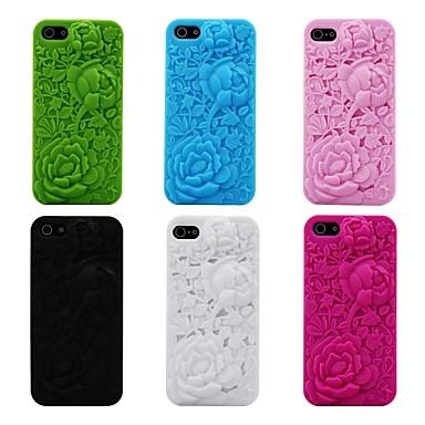3D-Rosen-Muster Silikongummi Soft Case für iPhone 5/5 s (verschiedene Farben)