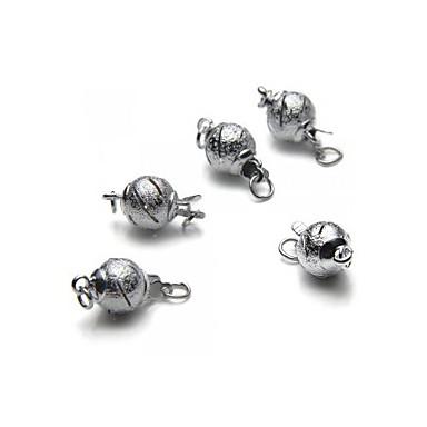 5pcs Metal Round Ball Bead Snap Lock Push In Clasps 7x15mm