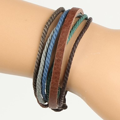 Comfortable Adjustable Men's Leather Bracelet Colorful Hemp Brown Leather(1 Piece)