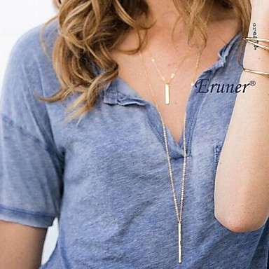 Eruner Simple Geometric Rectangular Metal Tassel Chain Necklace
