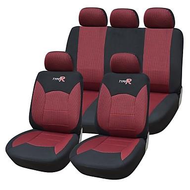 9 pi ces si ge de voiture mis en couvre le mat riel de ajustement universel rouge mat riau. Black Bedroom Furniture Sets. Home Design Ideas