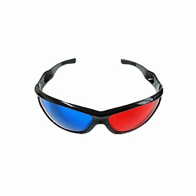 Re-useable Plastic Frame Resin Lens Anaglyphic Blue + Red 3D Movie Special Glasses