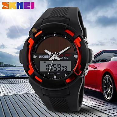 SKMEI Herren sportliche Uhr Solar Power Analog-Digital-Kalender / Chronograph / Dual Time Zones / Wecker schwarzen Kautschukarmband