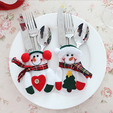 2pcs bonhomme de neige no l no l argenterie art de la table support d ner couverts de d coration for Accessoire deco table