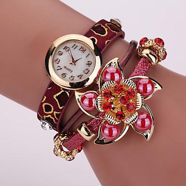 Women's Fashion Watch Bracelet Quartz PU Band Sparkle Flower Black White Red Brown Yellow Beige Brand