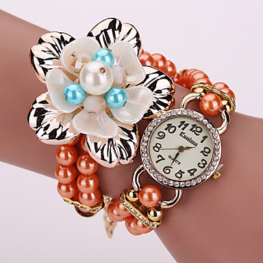Women's Fashion Watch Bracelet Quartz PU Band Sparkle Flower Pearls Black White Blue Orange Grey Gold Brand