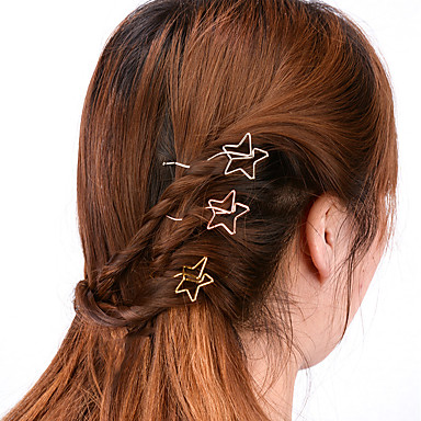 Women Simple Handmade Hollow Star Hair Clips Alloy Hair ...