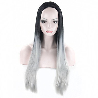Grey Ombre Wig False Hair Synthetic Wigs Black Women 26 inch Long Straight Natural Cheap Kylie Jenner Gray