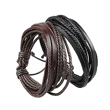 Bracelet Wrap Bracelet Leather Bracelet Adjustable Rope Brown and Black Unisex Cuff Bracelet Bangles Multilayer Wrist Band 20+5cm