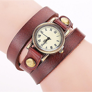 Women's Fashion Watch Wrist watch Bracelet Quartz Punk Colorful Leather Band Vintage Bohemian Charm Bangle Cool CasualBlack White