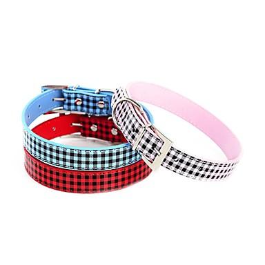 Katze / Hundehalsband verstellbar / einziehbar Rhinestone / Neuheit / Herzen rot / blau / rosa PU Leder